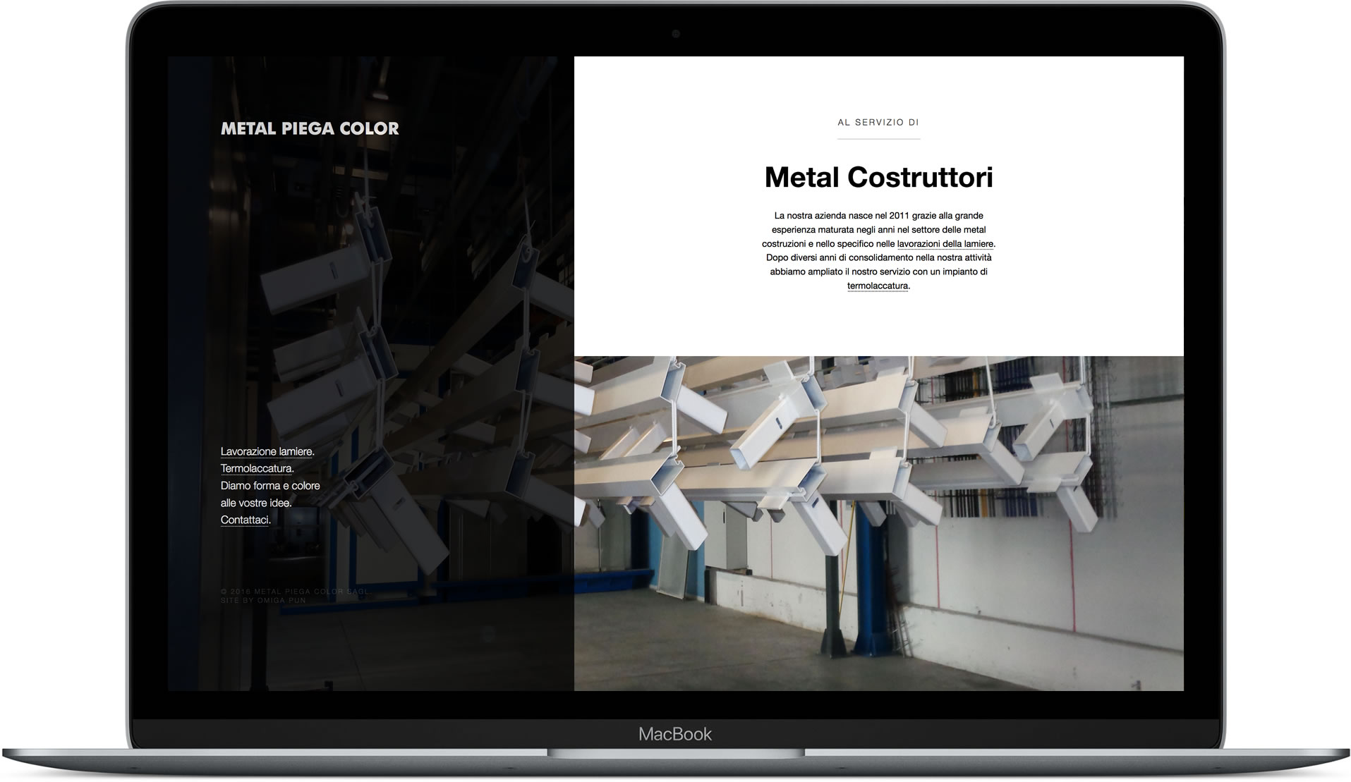 Website designed for Metal Piega mocked up in MacBook