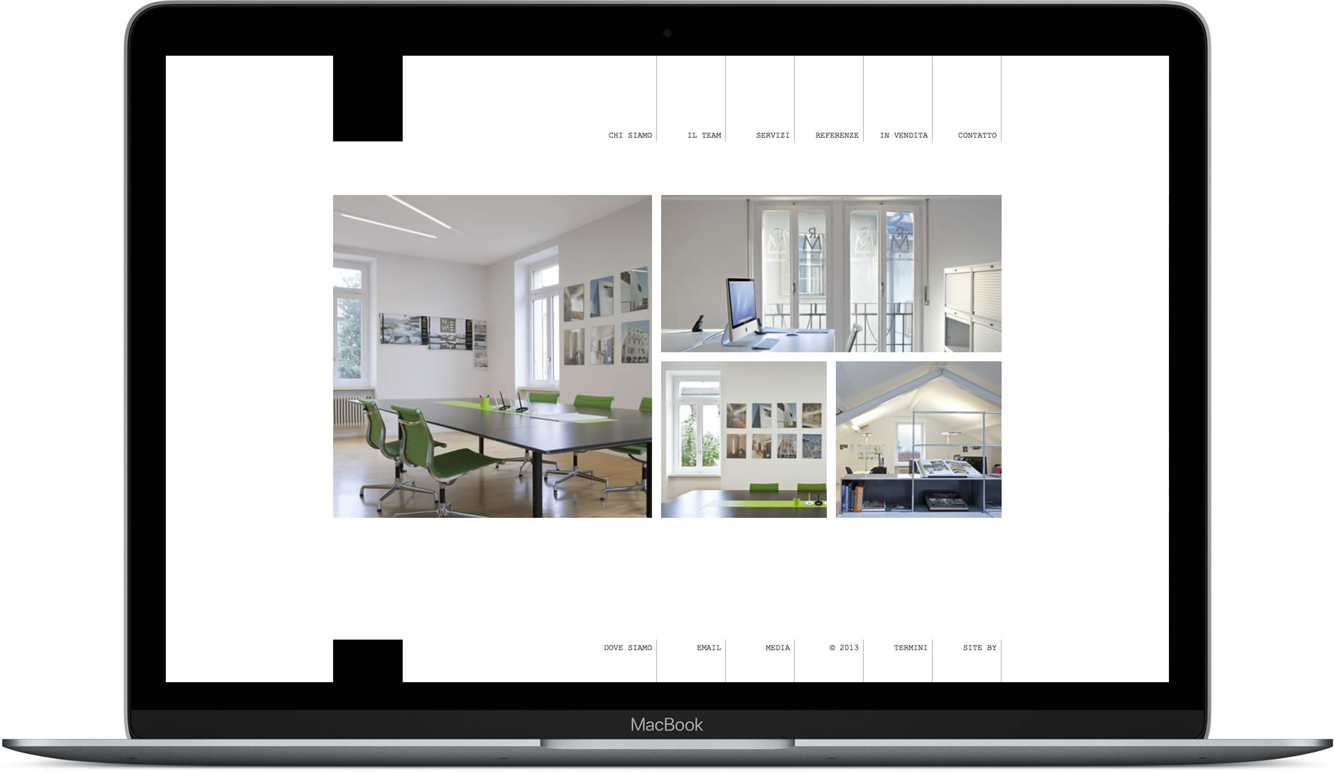 Website designed for an architectural design firm mocked up in MacBook