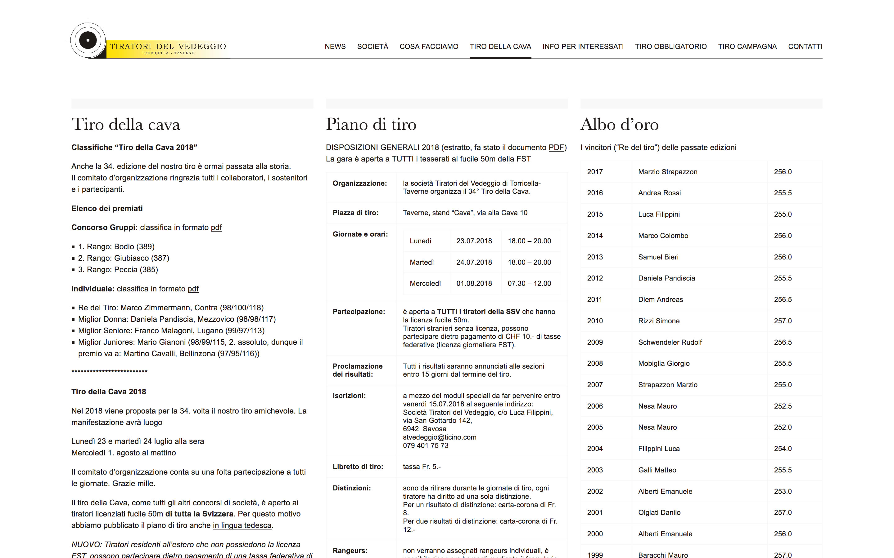 Screenshot of website designed for STVedeggio